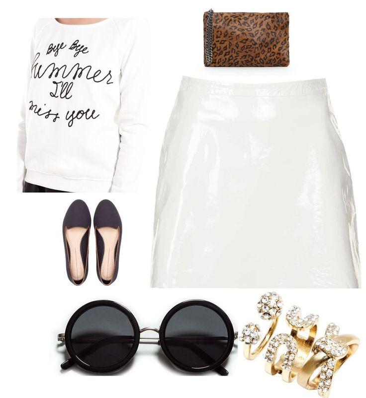 #white #leather #skirt