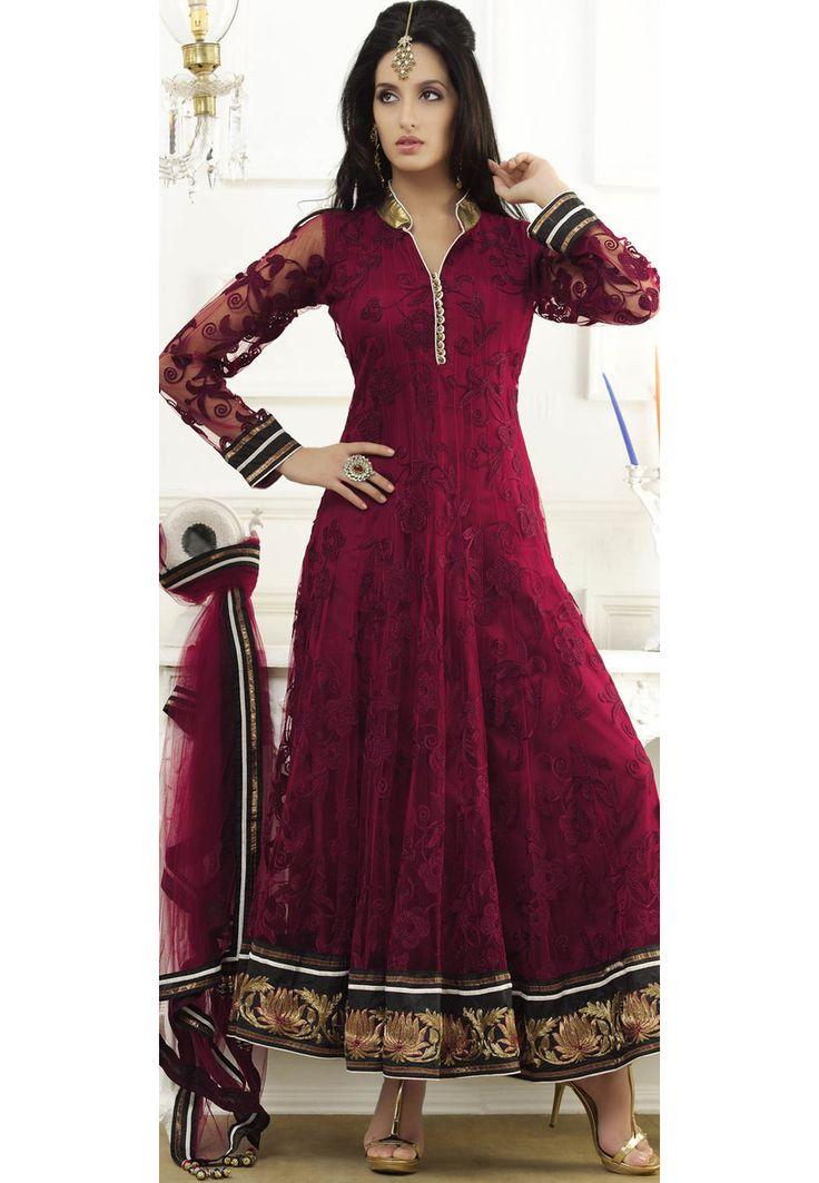 Buy Maroon Net Abaya Style Churidar Kameez online, work: Embroidered, color: Maroon, usage: Wedding, category: Salwar Kameez, fabric: Net, price: $271.85, item code: KAN50, gender: women, brand: Utsav