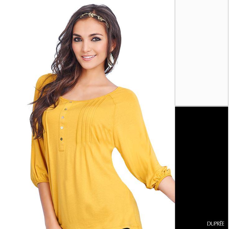 Combinar amarillo con negro o blanco será ideal para lucir súper a la moda. #Ideas #Duprée