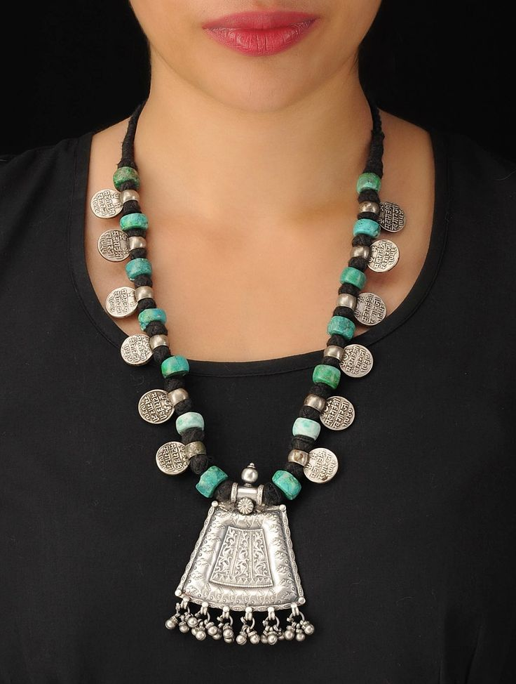 Buy Silver Turquoise Black Tribal Bold Necklace 92.5% Sterling Semi Precious Stone Cotton Thread Jewelry Online at Jaypore.com
