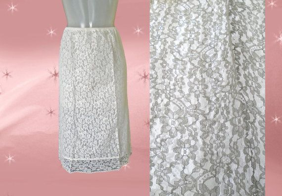 Heres a 50s vintage pencil skirt slip in white lace and nylon, a lacy white half slip which is 1950s Van Raalte in a size small. UNDERWEAR AS OUTERWEAR? Im all for it and even though this is a half slip it is all lace over very sheer and filmy nylon.  --almost nylon chiffon, but not quite --a one of a kind white lace pencil skirt? --or a special lacy half slip --typical Van Raalte waistband (tunneled in elastic) --back vent --trimmed at hem and vent with different kind of lace (They dont…