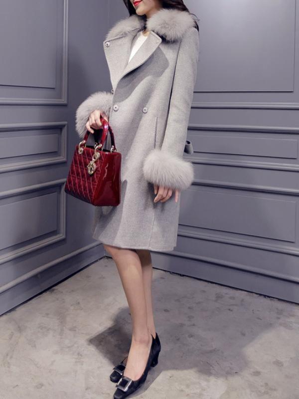 トレンドありフォックスファーファッションラシャアウターコート - レディースファッション激安通販 20代·30代·40代ファッション