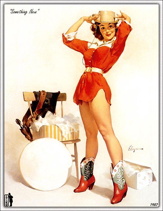 Vintage cowgirl. #ElvgrenHats, Cowgirls, Vintage, Pinupart, Pin Up Art, Pinup Girls, Pinup Art, Gil Elvgren, Pin Up Girls