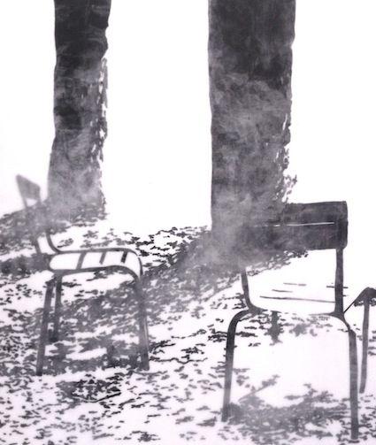 L'absence (130x110 cm) Encre de Chine recouvert de paraffine. Réalisation Isabelle Bonté-Hessed2