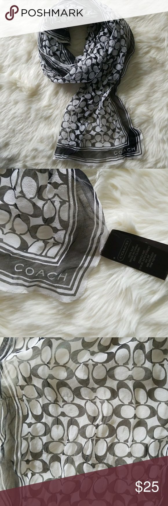 Black and White Coach Scarf Cute black and white scarf from Coach.  Lightweight and a perfect adornment for your purse!  A few pulls throughout, although only used a few times so otherwise excellent condition. Coach Accessories Scarves & Wraps