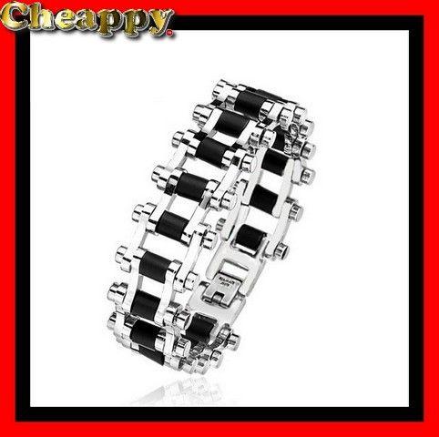 Mooie motor ketting armband zwart en zilverkleurig - Cheappy