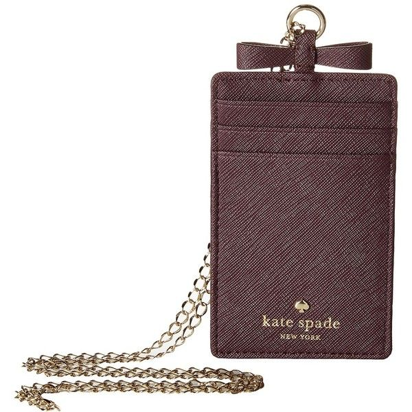 Kate Spade New York Cedar Street Lanyard (Mahogany) Wallet ($58) ❤ liked on Polyvore featuring bags, wallets, lanyard wallet, bow wallet, white wallet, clear wallet and kate spade