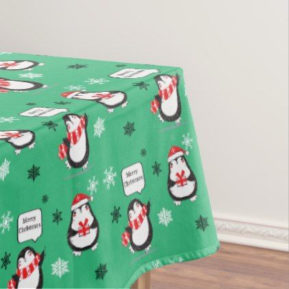Merry Christmas Penguin  green Holiday Tablecloth - merry christmas diy xmas present gift idea family holidays