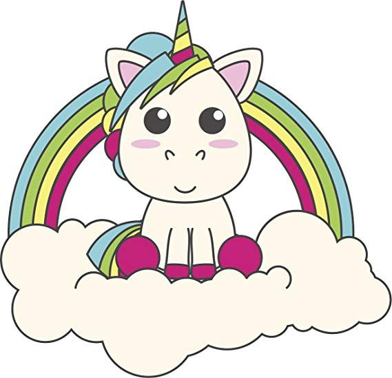 Simple Cute Baby Unicorn In Rainbow Cloud Cartoon Vinyl Decal