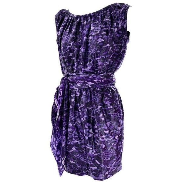 Preowned Marc Jacobs Dress In A Purple And Black Metallic Leopard... ($495) ❤ liked on Polyvore featuring dresses, day dresses, purple, purple dresses, metallic dress, metallic mini dress, leopard mini dress and sleeveless dress