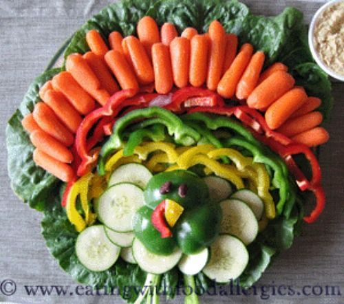 Edible Thanksgiving Centerpiece — why not arrange your vegetables platter into the shape of a turkey. Eating With Food Allergies shows you how.