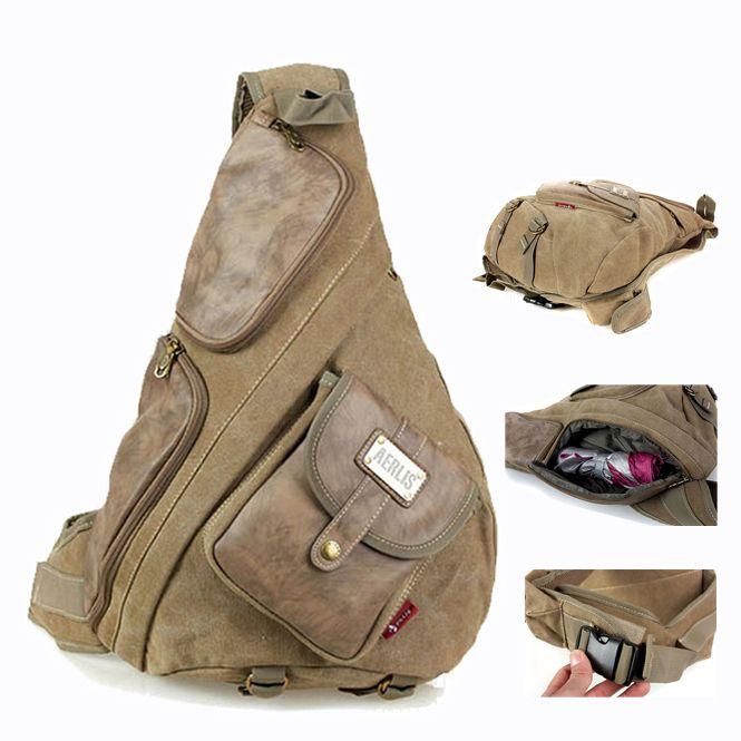 objets vintage en toile et cuir poitrine sac sac à dos sling tactique un livre unique épaule messenger sacs