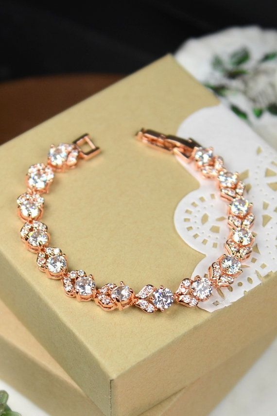 Rose Gold Bridal bracelet SETWedding Bridal by thefabbridaljewelry