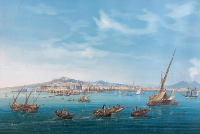 Giocchino Lapira, Bay of Naples with Vesuvius, Q3 19th Century