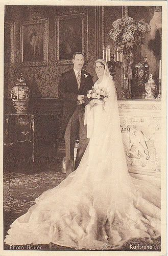Princess Theodora of Greece and Denmark with her groom Berthold, Margrave of Baden, on their wedding day, 17 August 1931.
