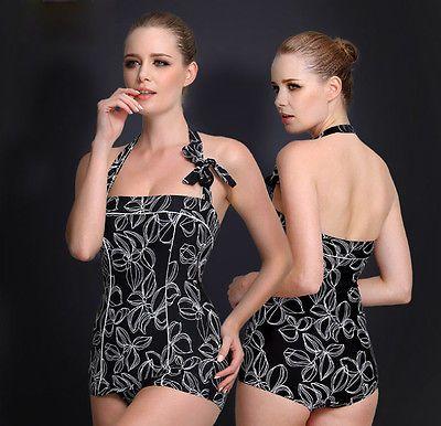 Traje de baño para mujer traje de baño de una Pieza Negro Playa Natación Vestido Talla EE. UU. 10 12 14 16 18