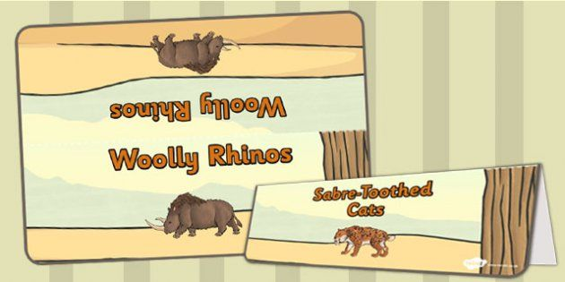 Stone Age Animals Group Table Signs - twinkl
