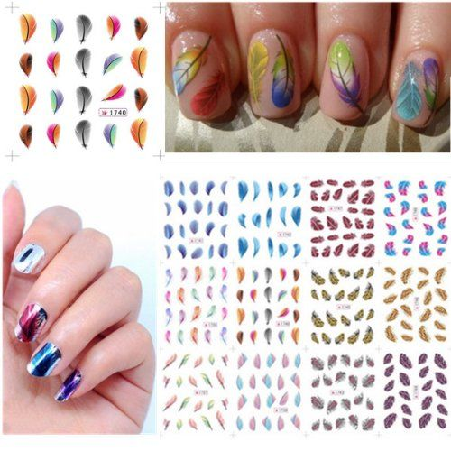 Fashion New Colors Water Transfer Nail Art Decorations Design Nails Stickers Feathers Decals -- You can find more details by visiting the image link.