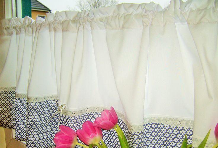 Gardinen - Gardine grau blume handmade - ein Designerstück von schmetterling06 bei DaWanda