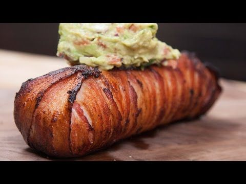 Bacon-Wrapped Steak Breakfast Burrito - YouTube  There is a link underneath the video for the recipe..