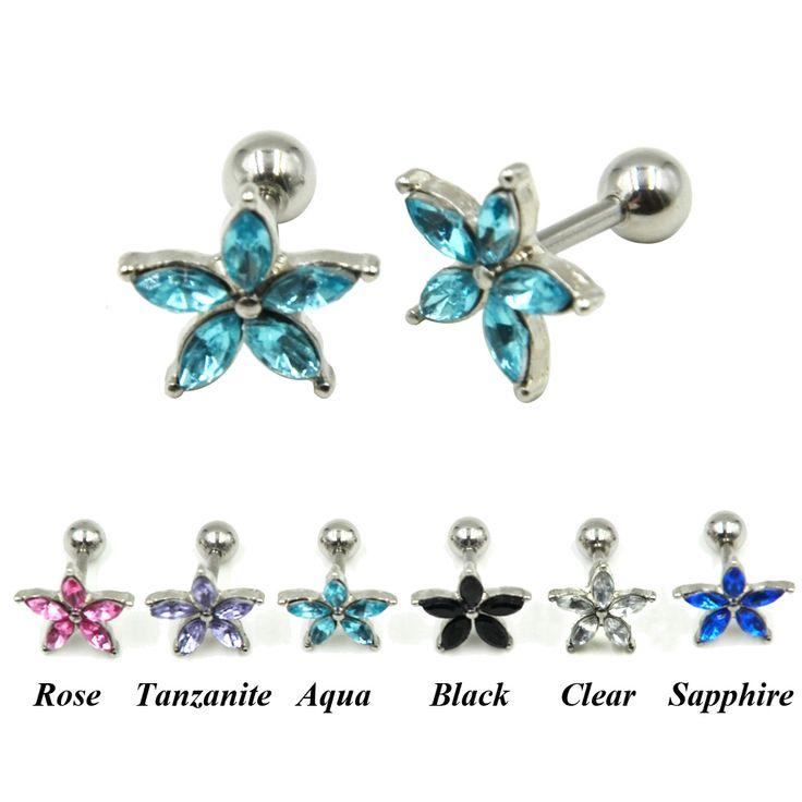 Crystal Zircon Flower Ear Helix Tragus Cartilage Piercing Earring Jewelry