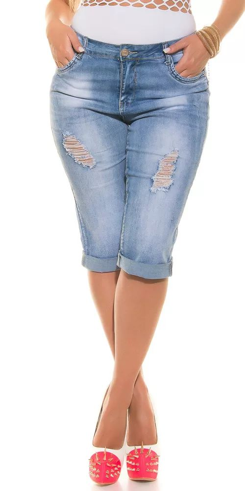 Dámské stylové capri džíny s děrováním