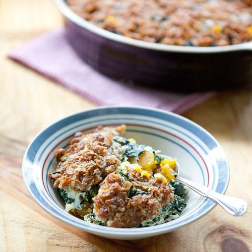 Baked Butternut Squash and Kale Casserole with Crispy Parmesan Topping ...