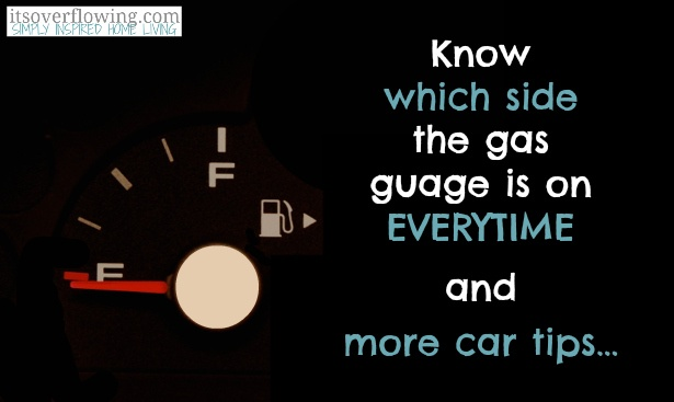 Creative Car Tips and Tricks...know which side the gas guage is on everytime, organization and more!