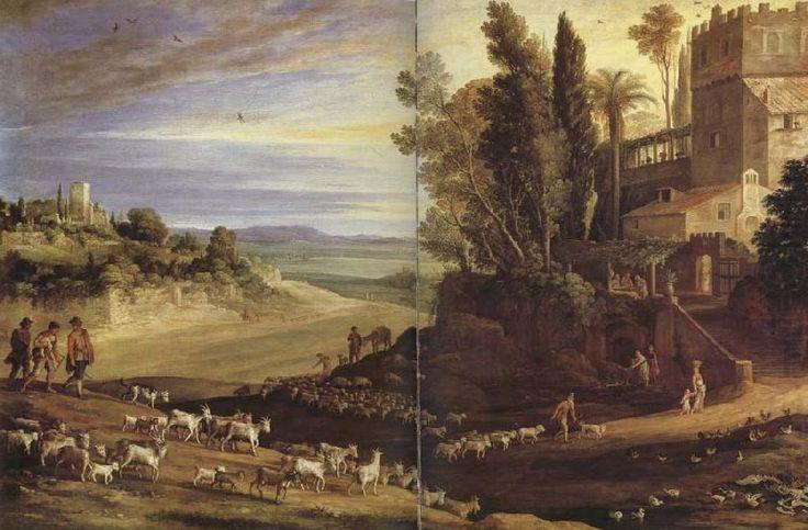 Фламандский художник Paul Bril (1554-1626).. Paysage avec les pelerinsde'Emmaus
