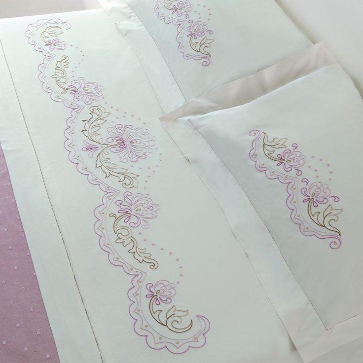 Lenzuolo matrimoniale, cotone disegnato da ricamare a punti misti