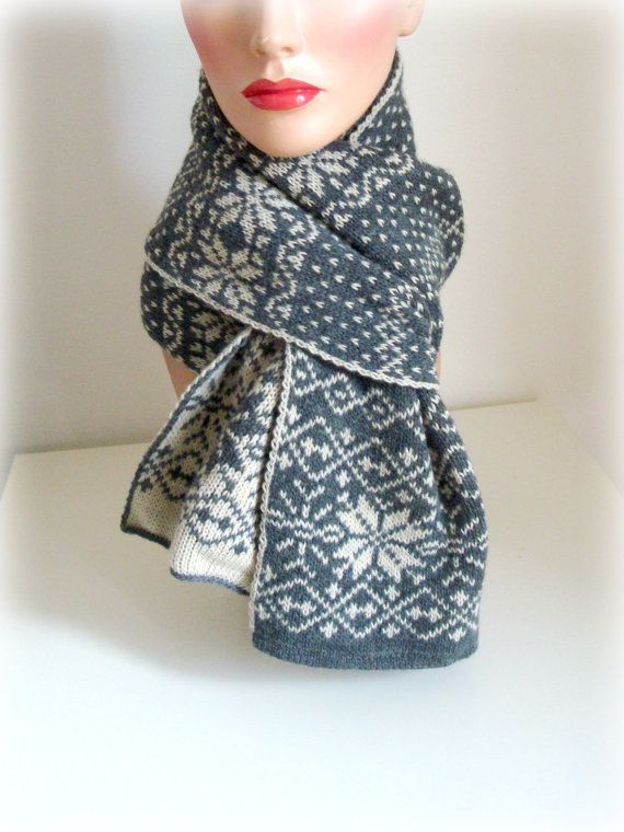 Hand Knit Scarf  Grey Ivory Nordic Knitting  Wool by InkaBoutique, $42.00