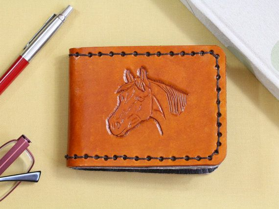 Horses Head Hand Carved Leather Wallet  by TinasLeatherCrafts. Repin To Remember.