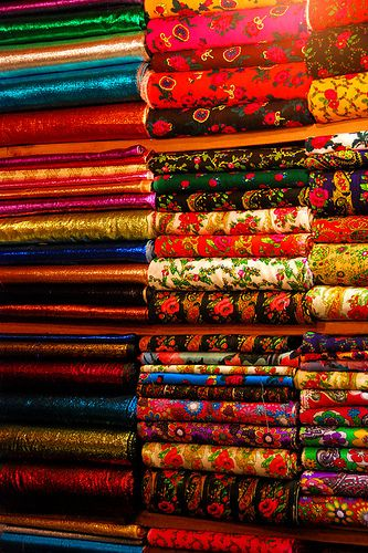 Istanbul, Turkey. Oh, my goodness, just look at all those sumptuous fabrics and colors and designs. Heaven!