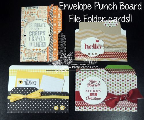 www.PattyStamps.com - Use the Envelope Punch Board to create CUTE File Folder Cards! Perfect for those of us addicted to anything office supply related :)