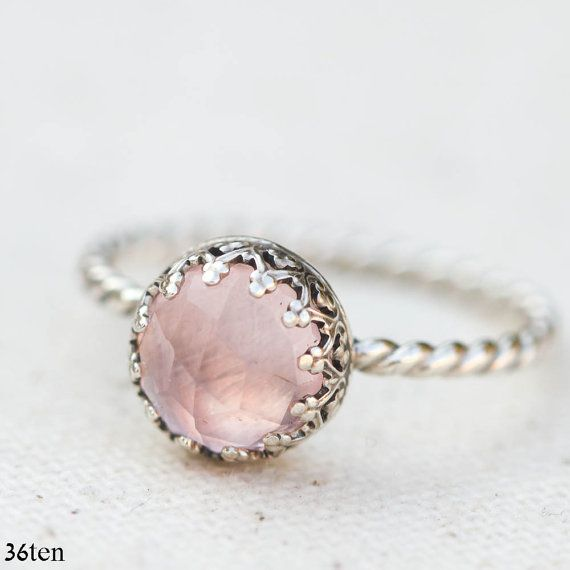 Romantic Pink Rose Quartz Ring by 36ten on Etsy