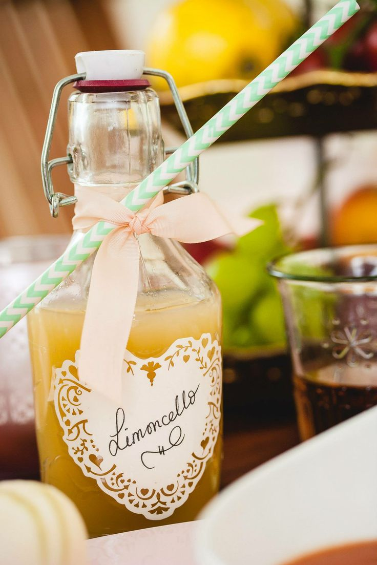 home made Limoncello as favors by Eindeloos Weddings & Events. Photo: Fotozee