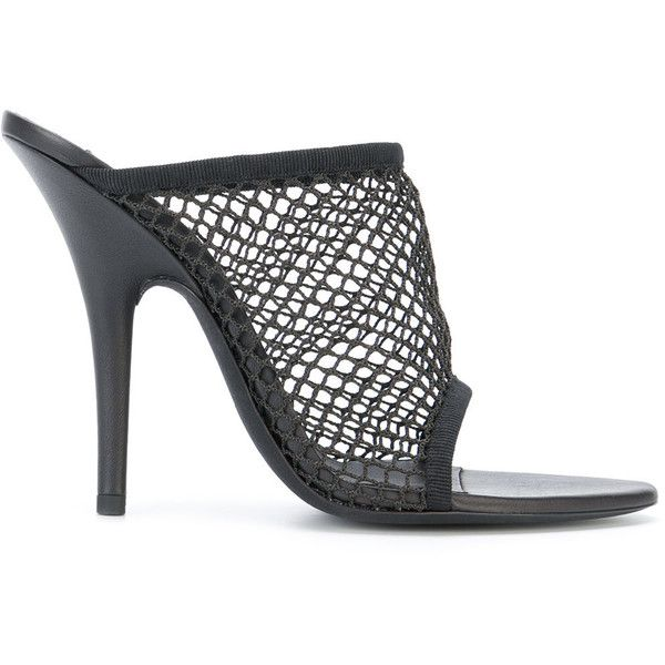 Yeezy mesh panel mules ($649) ❤ liked on Polyvore featuring shoes, black,