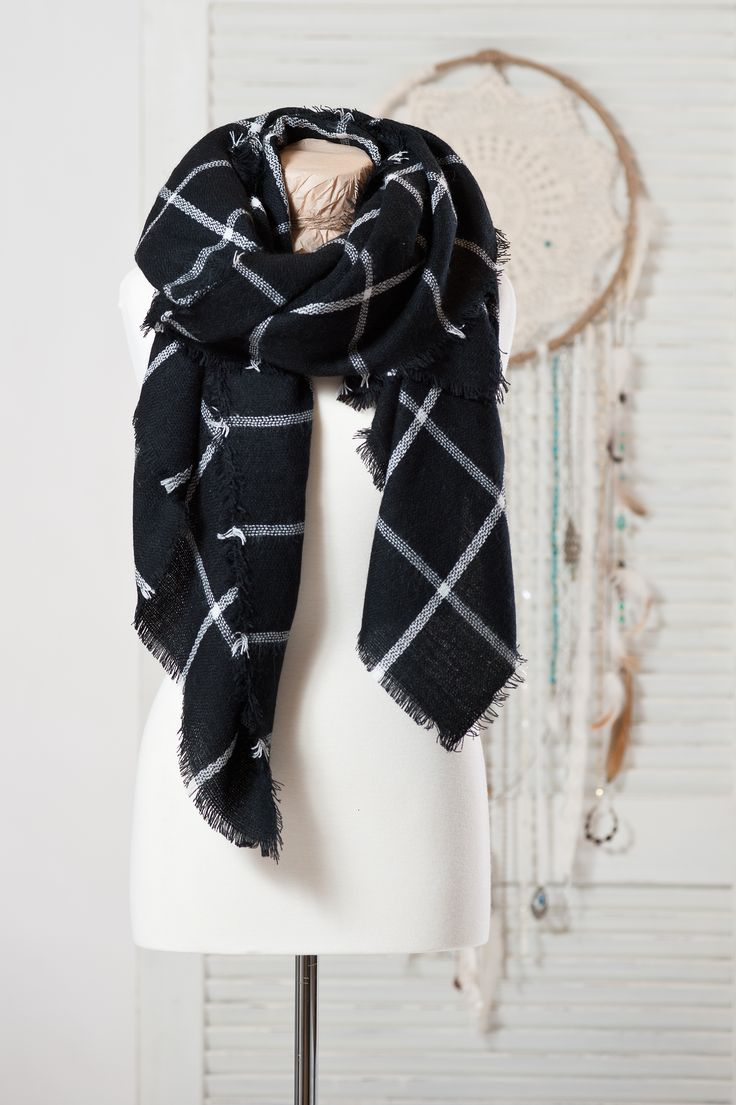 Jackson-Rowe  JRC Oxford long scarf in black and white; $72
