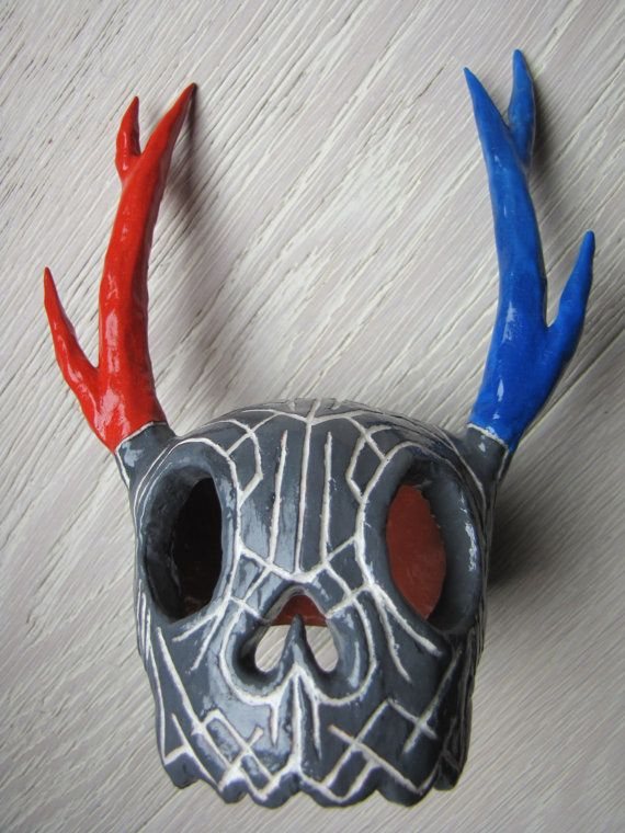 Aztec Tribal Pattern Handmade Orange Blue And Gray Clay Human Deer Skull  Hybrid Sculpture