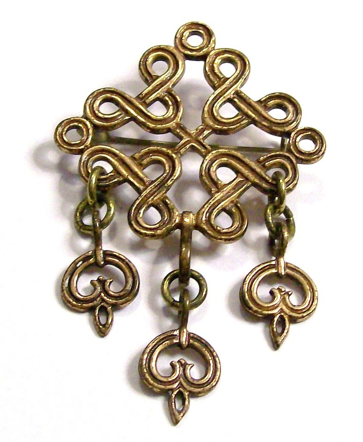 Kalevala Koru Finnish Bronze Articulated Cutout Brooch
