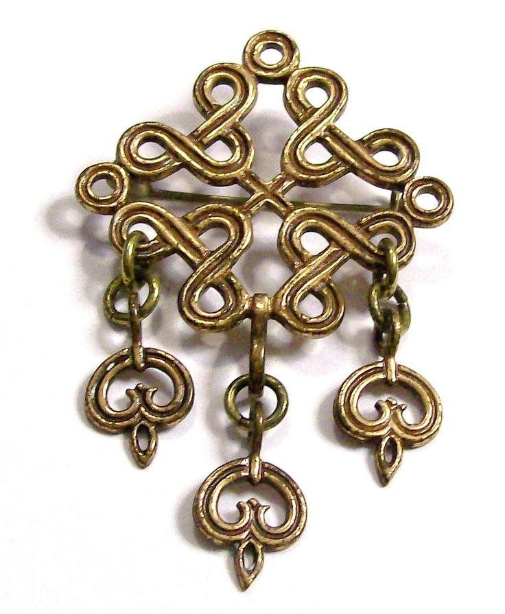 Kalevala Koru Finnish Bronze Articulated Cutout Brooch