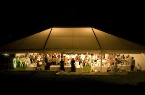 Marquee at night: . Nelson wedding venue.