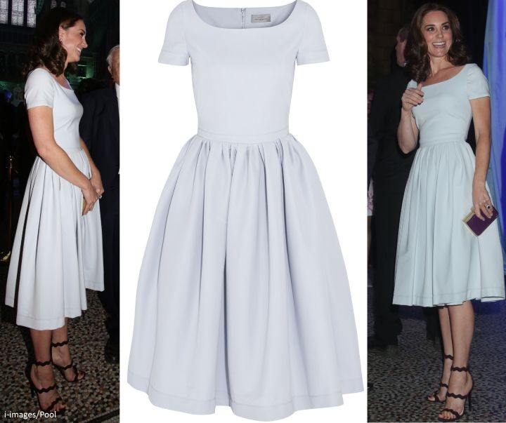 hrhduchesskate: Hintze Hall Opening, Natural History Museum, July 13, 2017-The Duchess of Cambridge in a pale blue Preen by Thornton Bregazzi Everly Dress