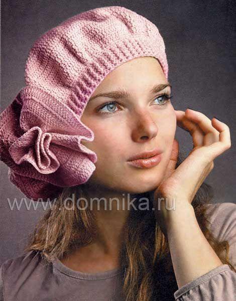Розовый берет с большим цветком