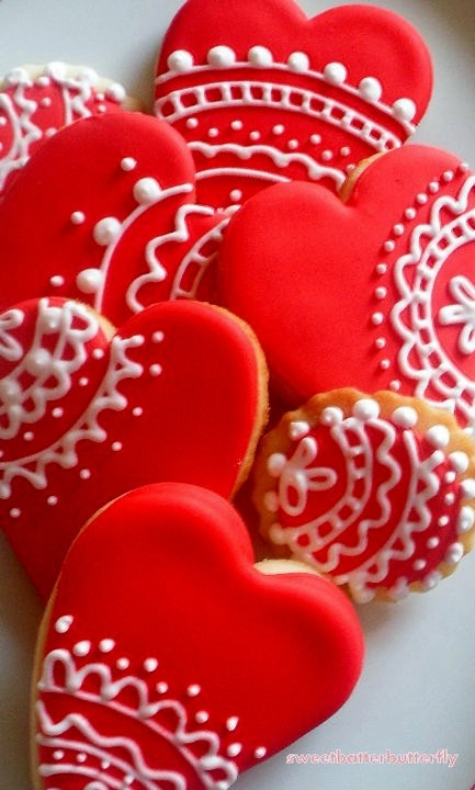 Valentine Cookies Red and White Lace by thaliascookiejar on Etsy, $20.00