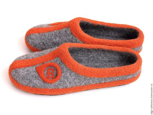 Обувь ручной работы. Ярмарка Мастеров - ручная работа. Купить Именные тапочки. Handmade. Серый, тапочки с рисунком, подарок для парня