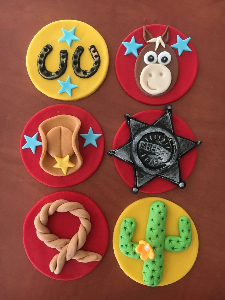 Cowboy cupcake toppers