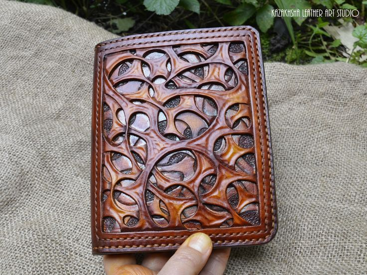 """Leather cover """"The code of Volken"""" with organic pattern or Daily Planner, Diary, Organizer, telephone book"""