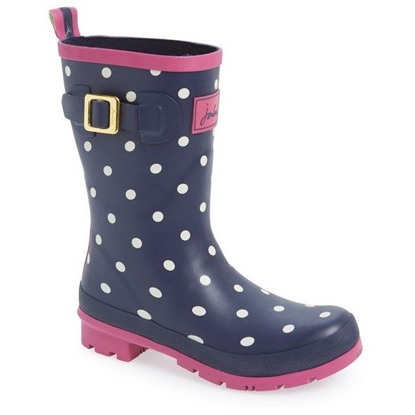 "Joules 'Molly' Rain Boot, 1 1/4"" heel featuring polyvore, fashion, shoes, boots, mid-calf boots, navy spot, slip on rubber boots, patterned rain boots, wellington boots, navy blue rain boots and print rain boots"