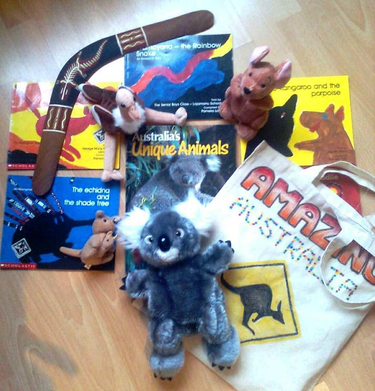 A collection of stories and information texts about Australia. With cute Aussie soft toys too of course!